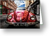 Wide Angle Photo Greeting Cards - Classic VW on a Glasgow Street Greeting Card by John Farnan