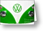 Green And White Greeting Cards - Classic VW Van green and white Greeting Card by Paul Ward