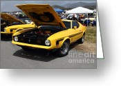 Ford Engine Greeting Cards - Classic Yellow Ford Mustang Mach 1 7d15277 Greeting Card by Wingsdomain Art and Photography