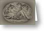 Islands Digital Art Greeting Cards - Classical Greek Woman Fresco Greeting Card by Bill Cannon
