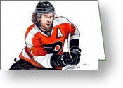 Flyers Drawings Greeting Cards - Claude Giroux Greeting Card by Dave Olsen