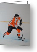 Flyers Art Greeting Cards - Claude Giroux Philadelphia Flyer Greeting Card by Joanne Grant