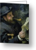 Monet Greeting Cards - Claude Monet reading a newspaper Greeting Card by Pierre Auguste Renoir