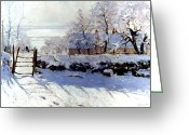 Snow Greeting Cards - Claude Monet: The Magpie Greeting Card by Granger