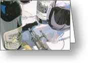 Trumpet Glass Greeting Cards - Claudias Cabernet Greeting Card by Christopher Mize