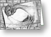 Dragons Greeting Cards - Claws Drawing Claws Greeting Card by Michael Cook