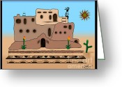 Linda D Seacord Greeting Cards - Clay House Greeting Card by Linda Seacord