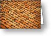 Tuscan Greeting Cards - Clay Roof Tiles Greeting Card by David Buffington