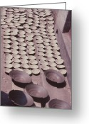 Wheel Thrown Greeting Cards - Clay Yogurt Cups Drying In The Sun Greeting Card by David Sherman