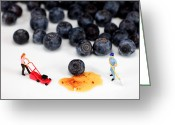 Naughty Greeting Cards - Cleaning Blueberry Juice Greeting Card by Mingqi Ge
