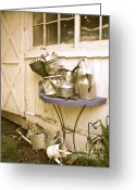 Kitchen Ware Greeting Cards - Cleaning Out The Woodshed Greeting Card by Nancy Patterson