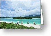 Nautical Vessel Greeting Cards - Clear Blue Lagoon, Paradise Beach, Ishigaki, Japan Greeting Card by Ippei Naoi