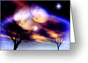Beautiful Clouds Greeting Cards - Clear Night Greeting Card by Dreamlight  Creations