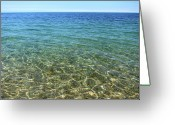 Devon Greeting Cards - Clear Sea With Blue Sky Greeting Card by Red Sky