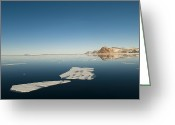 Ice Floes Greeting Cards - Clear Sky Over Ice Floes In The Water Greeting Card by Norbert Rosing