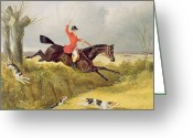 Beagle Greeting Cards - Clearing a Ditch Greeting Card by John Frederick Herring Snr