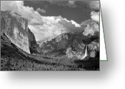 Inspiration Point Greeting Cards - Clearing Skies Yosemite Valley Greeting Card by Tom and Pat Cory