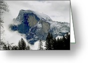 Winter Storm Photo Greeting Cards - Clearing Storm Around Half Dome Greeting Card by Bill Gallagher
