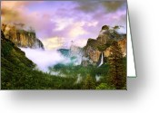 Tunnel View Greeting Cards - Clearing Storm Over Yosemite Valley Greeting Card by Edward Mendes
