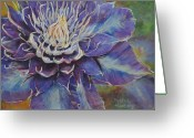 Flower. Petals Pastels Greeting Cards - Clematis Opus Greeting Card by Debbie Harding