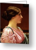 Shoulder Painting Greeting Cards - Cleonice Greeting Card by John William Godward