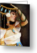 Jessica Grundy Greeting Cards - Cleopatra and the Serpent  Greeting Card by Jessica Grundy