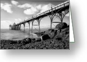 Somerset Greeting Cards - Clevedon Pier Greeting Card by Photographer Nick Measures