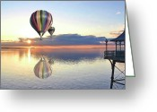 Flights Greeting Cards - Clevedon Pier  South West England Greeting Card by Alex Hardie