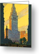 Cuyahoga Greeting Cards - Cleveland - Vintage Travel Greeting Card by Nomad Art And  Design