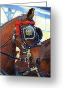 Bay Horse Greeting Card Greeting Cards - Cleveland Bay Horses In Harness Greeting Card by Olde Time  Mercantile