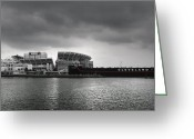 Football Photo Greeting Cards - Cleveland Browns Stadium From The Inner Harbor Greeting Card by Kenneth Krolikowski