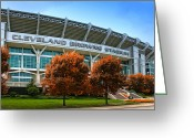 Football Photo Greeting Cards - Cleveland Browns Stadium Greeting Card by Kenneth Krolikowski