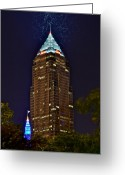 City Illusion Greeting Cards - Cleveland Electrified Greeting Card by Robert Harmon