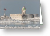 North America Greeting Cards - Cleveland Harbor East Pierhead Light Greeting Card by Clarence Holmes