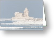 Snowing Greeting Cards - Cleveland Harbor West Pierhead Light II Greeting Card by Clarence Holmes