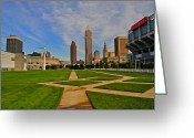 Lebron Greeting Cards - Cleveland Skyline Greeting Card by Robert Harmon