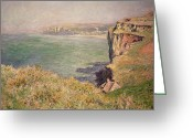 Bay Painting Greeting Cards - Cliff at Varengeville Greeting Card by Claude Monet
