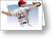 Curve Ball Greeting Cards - Cliff Lee Greeting Card by Scott Weigner