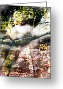 Rocks Prints Mixed Media Greeting Cards - Cliff Oasis Greeting Card by Maria Eames