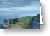 Azure Blue Greeting Cards - Cliff of Moher 10 Greeting Card by Douglas Barnett