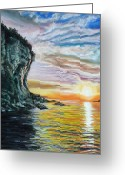 Cave Pastels Greeting Cards - Cliff sunset Greeting Card by Bob Northway