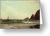 1908 Greeting Cards - Cliffs at Cape Elizabeth Greeting Card by Alfred Thompson Bricher