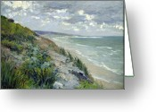 Shore Painting Greeting Cards - Cliffs by the sea at Trouville  Greeting Card by Gustave Caillebotte