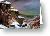 Courbet Greeting Cards - Cliffs By The Sea In Snow Greeting Card by Pg Reproductions