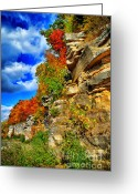 Escarpment Greeting Cards - Cliffs In Autumn Greeting Card by Shutter Happens Photography