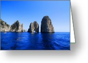 Clear Photo Greeting Cards - Cliffs Of Capri Greeting Card by Antonio Camara