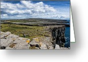Celt Greeting Cards - Cliffs of Dun Aonghasa Greeting Card by Michelle Sheppard
