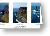 Ireland Greeting Cards - Cliffs of Moher Ireland Triptych Greeting Card by Teresa Mucha