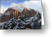 Zion National Park Greeting Cards - Cliffs of Zion Greeting Card by Laura Zirino