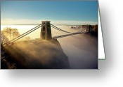 Gorge Greeting Cards - Clifton Suspension Bridge Greeting Card by Paul C Stokes